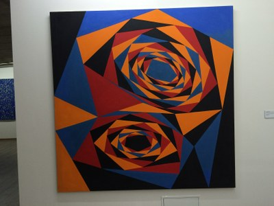 """Bild """"Zwei Tunnels in die Unendlichkeit"""" (1991) in der Ausstellung"""